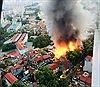 Cháy lớn tại nhà dân trên phố Đê La Thành, Hà Nội