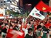 Người hâm mộ  vui sướng tràn xuống đường, hô vang 'Việt Nam vô  địch'