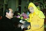 Ông Nguyễn Thiện Nhân chúc Tết trưởng lão Thích Phổ Tuệ