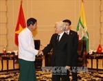 Tổng Bí thư Nguyễn Phú Trọng tiếp Ngài Than Htay, Chủ tịch Đảng USDP Myanmar