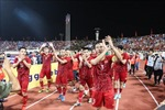 Niềm vui sau trận đấu của các tuyển thủ Việt Nam