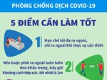 Năm điểm cần làm tốt để phòng, chống dịch COVID-19