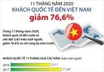 Khách quốc tế đến Việt Nam giảm 76,6% trong 11 tháng năm 2020