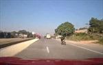 Suýt xảy ra tai nạn vì thóc phơi giữa đường