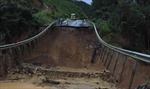 Quốc lộ 26 đoạn qua Đắk Lắkbị sụt lún nghiêm trọng, giao thông tê liệt