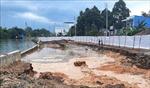 Khắc phục sự cố sụt lún hơn 50m đê bao chống ngập ở Vĩnh Long