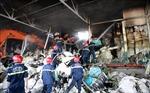 Cháy rụi  kho chứa nguyên liệu của công ty sợi, huy động 13 xe chữa cháy