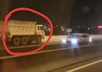 Xe ben bật đèn khẩn cấp, chạy ngược chiều trên cao tốc khiến nhiều tài xế 'thót tim'