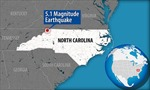 Động đất ở bang Bắc Carolina làm hơn 100 tòa nhà bị hư hỏng