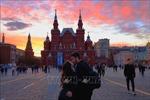 Cảnh tượng hoàng hôn hiếm gặp trên bầu trời Moskva