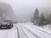 Tuyết rơi dày ở Sa Pa khiến giao thông liên tục tắc nghẽn