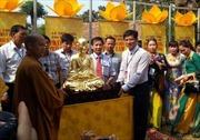 Lễ thếp vàng pho tượng Phật hoàng Trần Nhân Tông