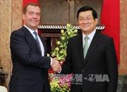 Chủ tịch nước Trương Tấn Sang tiếp Thủ tướng Nga Medvedev