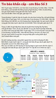 Bão số 3 áp sát bờ biển Đà Nẵng- Quảng Ngãi