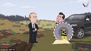 Phim hoạt hình Tổng thống Putin tiễn quan tham về trời