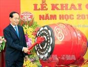 Chủ tịch nước Trần Đại Quang đánh trống khai giảng năm học mới tại Trường THCS Trưng Vương