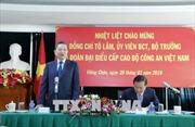 Bộ trưởng Công an Tô Lâm thăm và làm việc với cán bộ nhân viên Đại sứ quán Việt Nam tại Lào