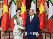 Thủ tướng Nguyễn Xuân Phúc hội đàm với Cố vấn Nhà nước Myanmar