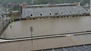 Mưa lớn biến sân bóng đá thành bể bơi
