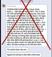 Xác định 18 tài khoản mạng xã hội đăng thông tin bịa đặt 'TP Hồ Chí Minh phong tỏa 14 ngày'