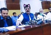 Hài hước quan chức Pakistan livestream họp báo quên tắt filter mèo dễ thương