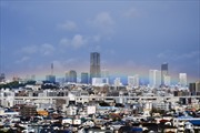 Cầu vồng rực sáng, tuyết đầu mùa trắng đỉnh Phú Sĩ trùng giờ Nhật hoàng đăng quang