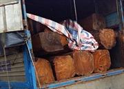 Lái xe chở gỗ lậu táo tợn tông móp ô tô lực lượng chức năng rồi bỏ trốn