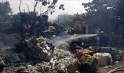 Cháy lớn tại xưởng sơ chế rác thải nhựa ở Thái Bình