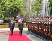 Lễ đón trọng thể Tổng Bí thư, Chủ tịch nước Nguyễn Phú Trọng tại thủ đô Viêng Chăn