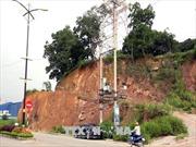 Mưa lớn làm sạt lở taluy tháp truyền hình tỉnh Thái Nguyên