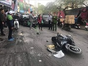 Ô tô mất lái đâm liên tiếp các phương tiện trên phố Ngọc Khánh, 1 người tử vong