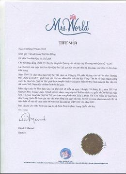 Hoa hậu Kim Hồng làm giám khảo Mrs World 2013