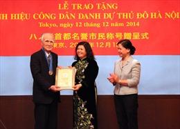 Hà Nội trao danh hiệu công dân danh dự Thủ đô cho cựu Thủ tướng Nhật Bản