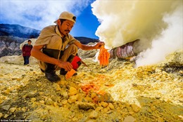 Mạo hiểm tính mạng đào quặng trên miệng núi lửa