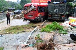 Xe khách đâm xe tải, 7 người bị thương