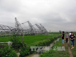 Cột điện 500kV gãy đổ trong mưa dông