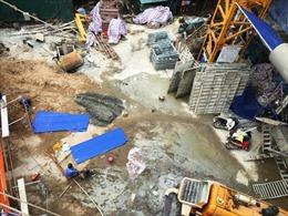 Hiện trường vụ sập giàn giáo 2 người chết ở Hoàng Mai