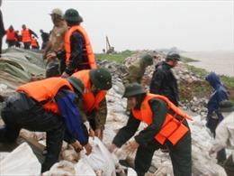 Bộ đội giúp dân chống sạt lở bờ biển Lăng Cô