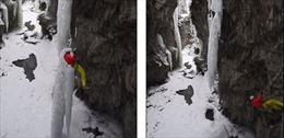 Leo núi, suýt bầm người ngã xuống sông băng