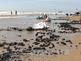 Khẩn trương thu gom, xử lý dầu vón cục dạt vào bờ biển