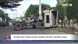 Tài xế và phụ xe đầu kéo kẹt cứng trong cabin sau tai nạn