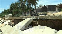 Quảng Ngãi: Kè biển chưa nghiệm thu đã tan hoang