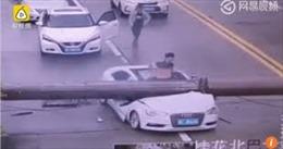 Cần cẩu đổ sập đè xe bẹp rúm, tài xế Audi thoát chết trong gang tấc