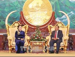 Chủ tịch Quốc hội Nguyễn Thị Kim Ngân chào xã giao Tổng Bí thư, Chủ tịch nước Lào