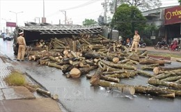 Xe chở gỗ cao su lật ngang đường do trời mưa trơn trượt