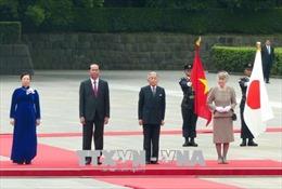 Truyền thông Nhật Bản đưa tin trang trọng về lễ đón Chủ tịch nước Trần Đại Quang