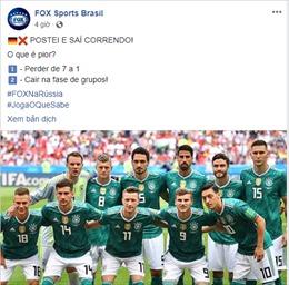 WORLD CUP 2018: Brazil chế nhạo Đức: 'Thua 1-7 và bị loại ở vòng bảng, điều nào tồi tệ hơn?'