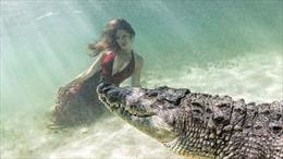 Người mẫu bơi dập dờn trước mũi cá sấu hoang dã để có shot ảnh đẹp