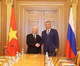 Tổng Bí thư Nguyễn Phú Trọng hội kiến Chủ tịch Duma Quốc gia Liên bang Nga