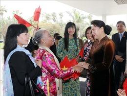 Chủ tịch Quốc hội gặp gỡ cán bộ Đại sứ quán và cộng đồng người Việt Nam tại Maroc